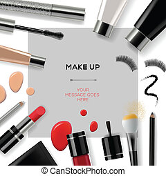 Makeup template with collection of make up cosmetics and accessories, vector Eps10 illustration.