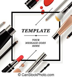 Makeup template with collection of make up cosmetics and ...