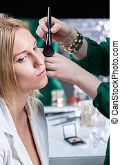 Makeup test before wedding - Make up artist doing makeup...