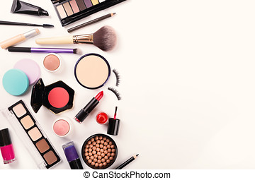makeup tools and accessories with copy space