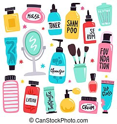 Makeup tools. Skincare routine cosmetic products, hand drawn...