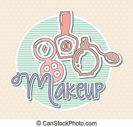 makeup vector - makeup icons over beige background. vector ...