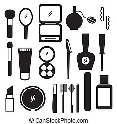 makeup vector - makeup icons over white background. vector ...