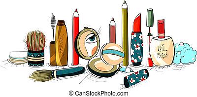 makeup, verzameling, kleurrijke, tekening