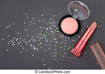 Makeup with lipstick and blush with pastel glitter