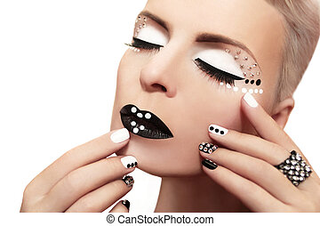 Makeup with rhinestones.