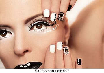 Makeup with rhinestones .