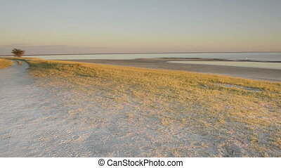 Looking over the Makgadikgadi Pans in Botswana, Africa at sunset in high definition