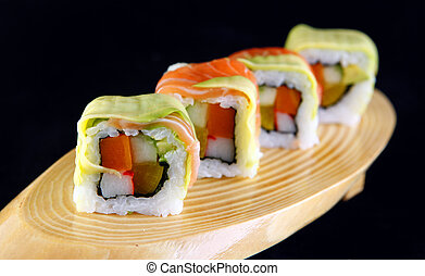 Maki salmon sushi with cheese