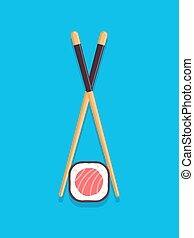 Maki sushi roll with chopsticks. Vector illustration in flat style, top view.