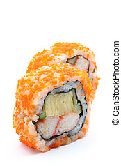 Maki Sushi on white background (selective focus on front ...