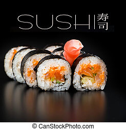 Maki sushi over black background