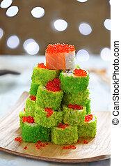Maki Sushi Roll Christmas Tree on a table