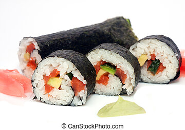 Maki Sushi - Roll made of Smoked Eel, Cream Cheese and Deep...