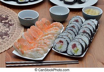 maki sushi rolls and nigiri sushi japan food on the table...