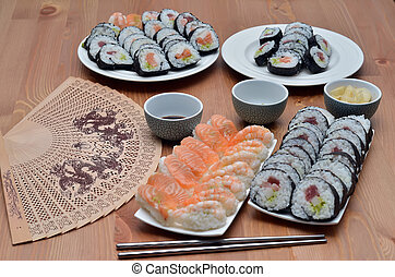 maki sushi rolls and nigiri sushi japan food on the table