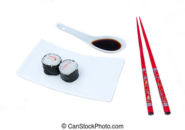 Maki with surimi on a white background