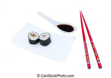 Maki with tuna on a white background