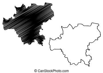 Makiivka City (Ukraine, Donetsk Oblast) map vector illustration, scribble sketch City of Dmytriivsk, Dmytriyevskyi, Makiyivka or Makeyevka map