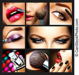 makijaż, collage., profesjonalny, charakteryzacja, details.,...