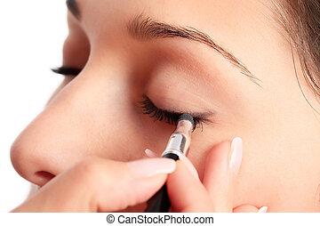 makijaż, eyeshadow, zwracający się, kobieta