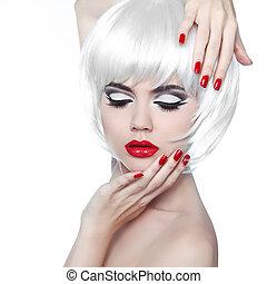 makijaż, i, hairstyle., czerwone usteczka, i, manicured, nails., fason, piękno, dziewczyna, odizolowany, na białym, tło.
