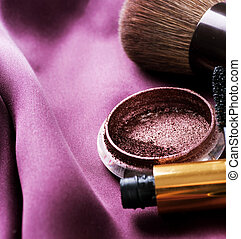 makijaż, make-up., przybory, brzeg