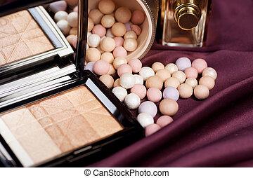 makijaż, make-up., tło, przybory