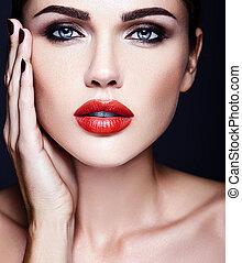 makijaż, skóra, usteczka, czuciowy, piękny, czysty, świeża twarz, dama, portret, wzór, kobieta, czerwony, kolor, blask, codzienny, zdrowy