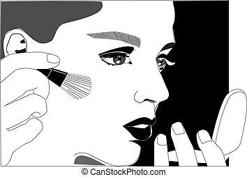 makijaż, wektor, piękno, twarz, kobiety, ilustracja