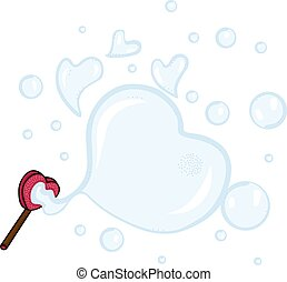 Making a blowing soap bubbles