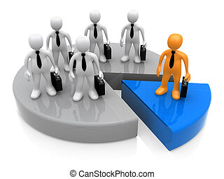 Business People Standing On A Pie Chart. One Person Stands Out