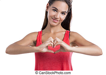 Making a heart symbol with hands