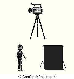 Making a movie black icons in set collection for design. Attributes and Equipment vector symbol stock web illustration.