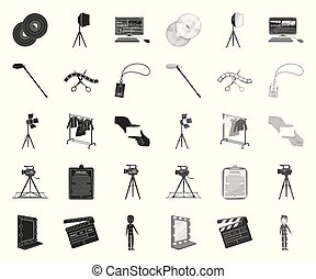 Making a movie black. mono icons in set collection for design. Attributes and Equipment vector symbol stock web illustration.
