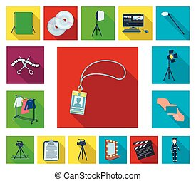 Making a movie flat icons in set collection for design. Attributes and Equipment vector symbol stock web illustration.