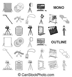 Making a movie monochrom icons in set collection for design. Attributes and Equipment vector symbol stock web illustration.