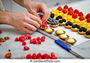 Making a pastries - Preparation of fruits pastries