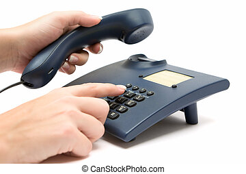 Making a Phone Call - Dialing a number on a blue phone. ...