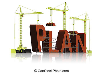 making a plan - tower cranes building 3D word plan