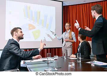 Making a presentation at meeting