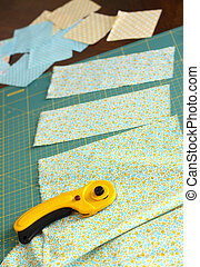 Making a quilt - Cutting fabric with rotary cutter