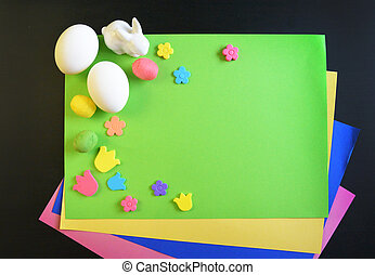 Making a scrapbooking hand made easter card - A child draws...