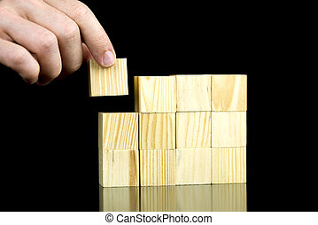 Making a structure with wooden cubes