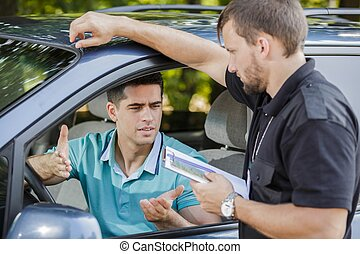 Making an excuse - Young driver is making an excuse after...