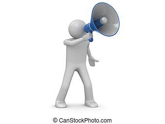 Making announcement over loudspeaker - 3d isolated on white...