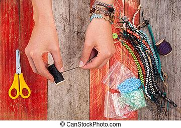 making bead bracelets - making colourful bead bracelets