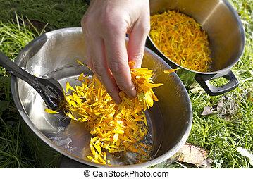 Making Calendula salve on a beautiful summer day