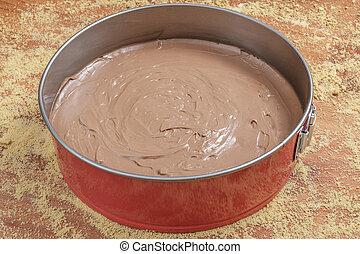 Making chocolate cheesecake