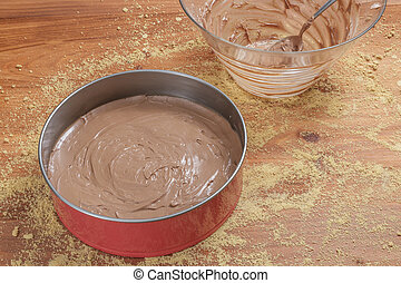 Making chocolate cheesecake